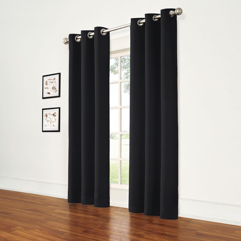 Thermal Black Room Darkening Window Curtain Pair - 74 in. W x 84 in. L (2-Panels)