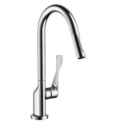 Axor Citterio Single-Handle Pull-Out Sprayer Kitchen Faucet in Chrome