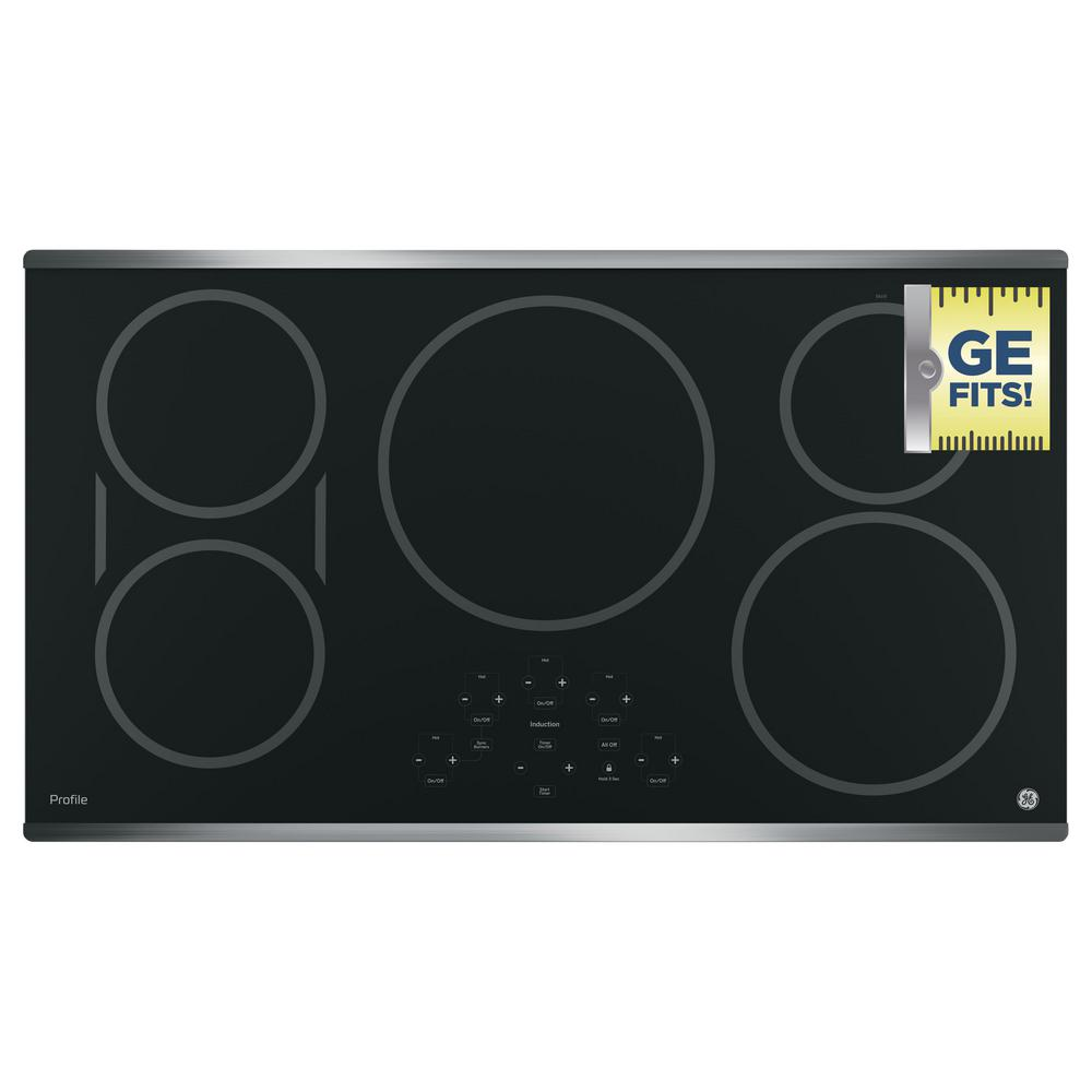 GE Profile 36 in. Electric Induction Cooktop in Stainless Steel with 5 Elements and Exact Fit