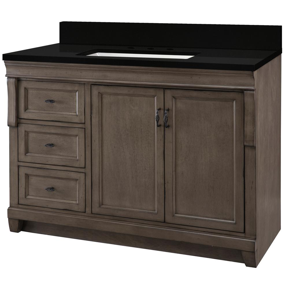 Home Decorators Collection Naples 49 in. W x 22 in. D Vanity in Distressed Grey with Granite Vanity Top in Midnight Black with Trough White Basin was $1199.0 now $719.4 (40.0% off)