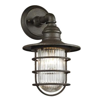 Freeport 1-Light Centennial Rust Exterior Wall Mount Sconce with Glass Shade