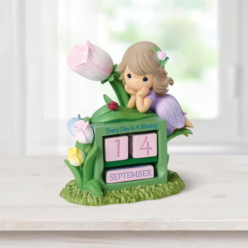 Tabletop Tulip Resin Perpetual Calendar Girl with Flower Figurine