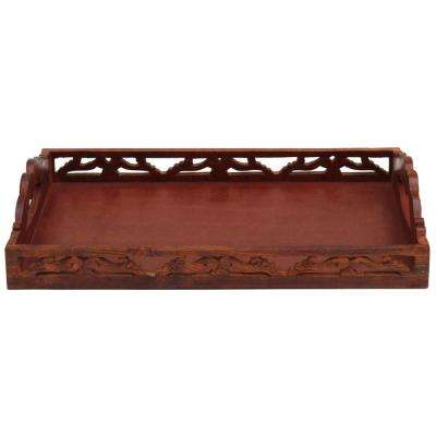 Carved Brown Wooden Serving Tray with Handles