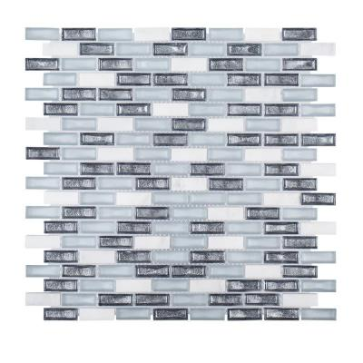 Alaskan Chill Blue 11.5 in. x 11.625 in. Interlocking Stone and Glass Mosaic Tile (0.928 sq. ft./Each)