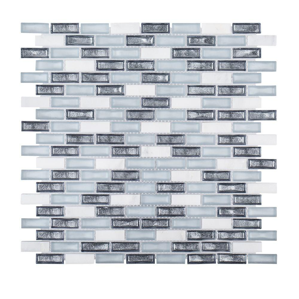 Alaskan Chill 11-1/2 in. x 11-5/8 in. x 6 mm Stone/Glass Mosaic Tile ...