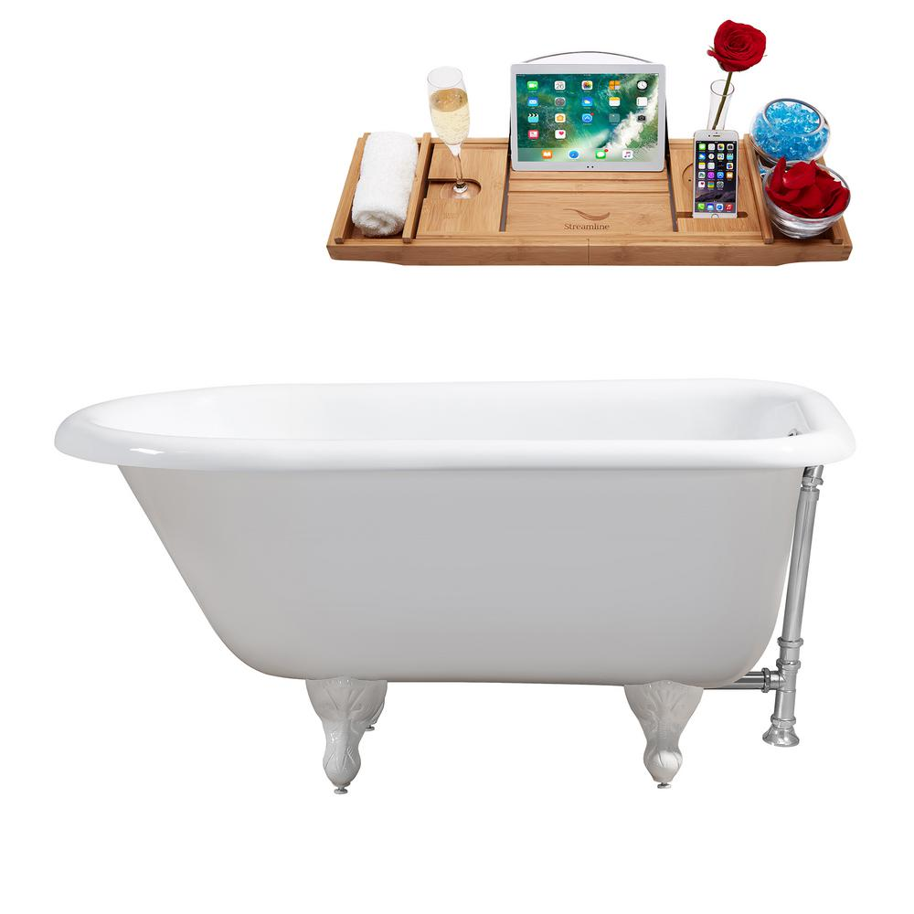 48 in. Cast Iron Clawfoot Non-Whirlpool Bathtub in White