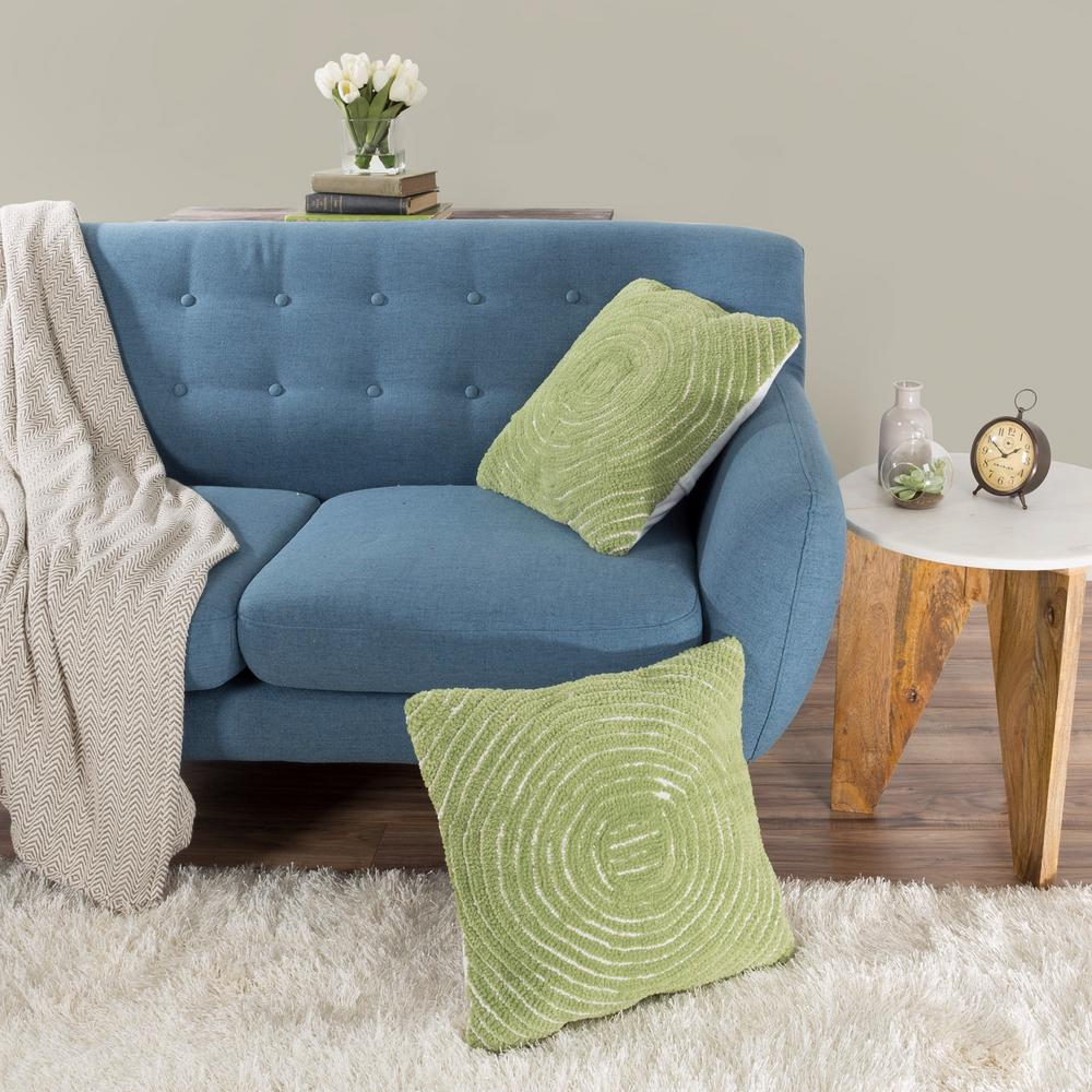 Modern Concentric Circle Green Decorative Pillow