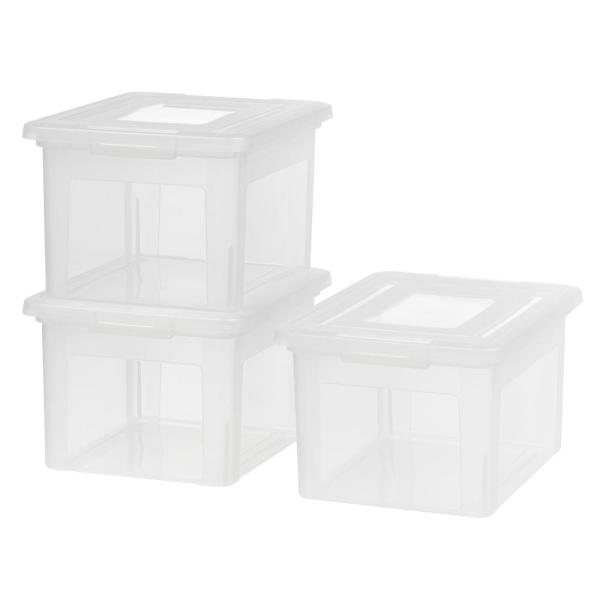 Iris Usa Inc Dual Purpose Letter And Legal Size File Box Clear 3 Pack 580048 The Home Depot