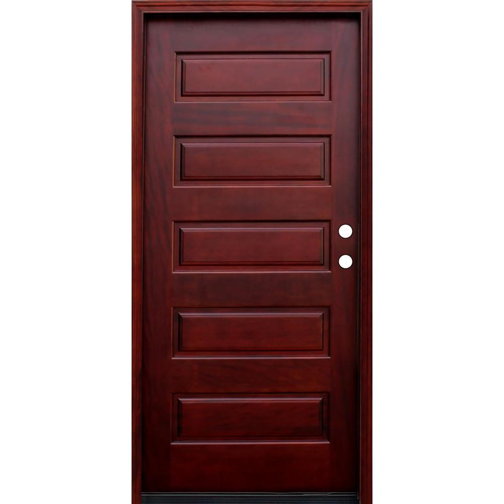 Pacific Entries 36 in. x 80 in. Contemporary 5-Panel Stained Wood Mahogany Prehung Front Door with 6 Wall Series