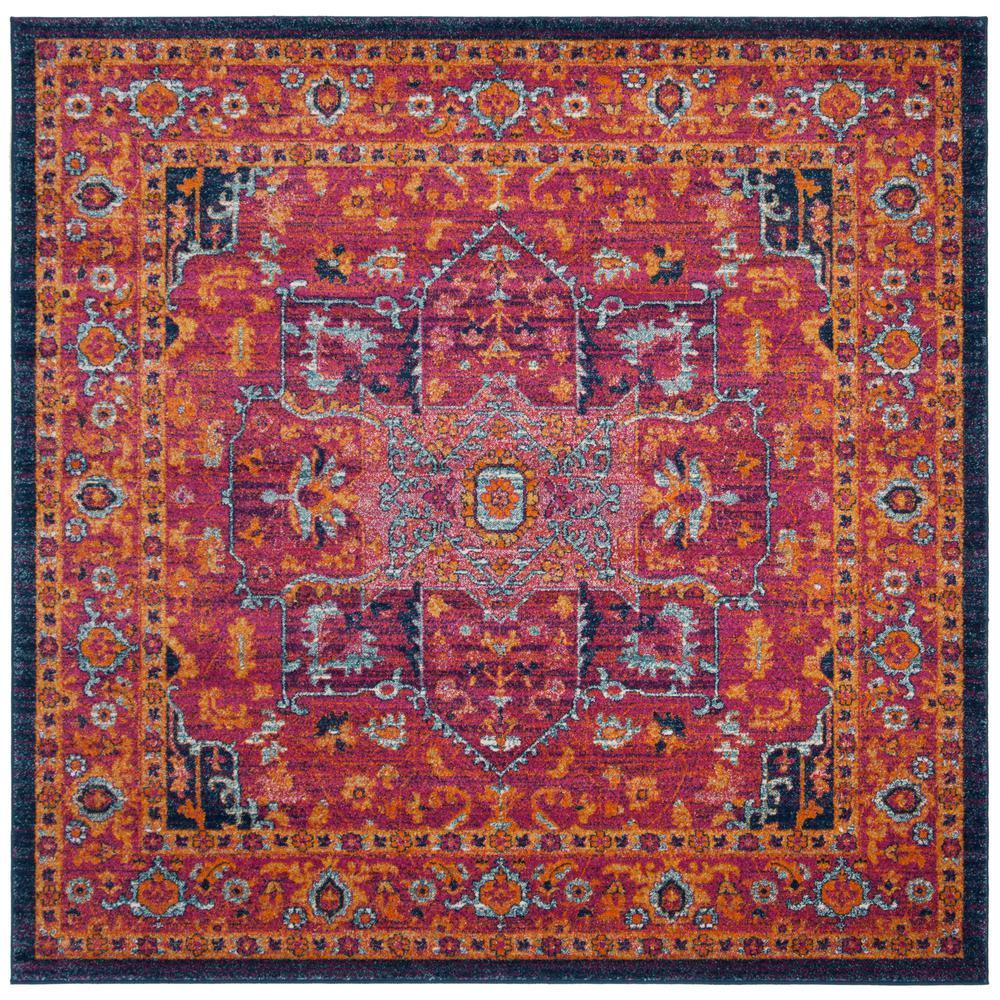Evoke Fuchsia/Orange 7 ft. x 7 ft. Square Area Rug