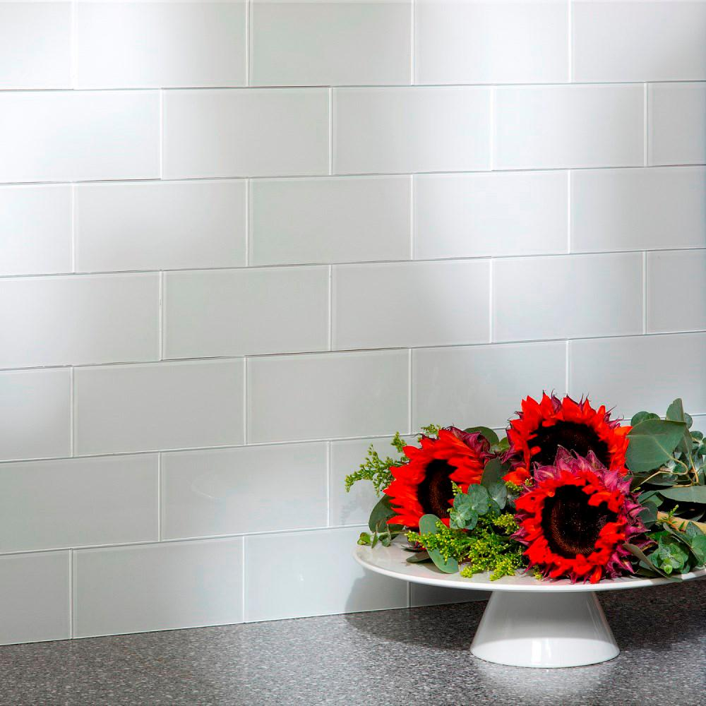 Aspect 6 In X 3 In Frost Glass Decorative Wall Tile 8 Pack A50