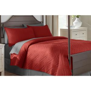 Binghamton 3-Piece Chili Solid Cotton King Quilt Set