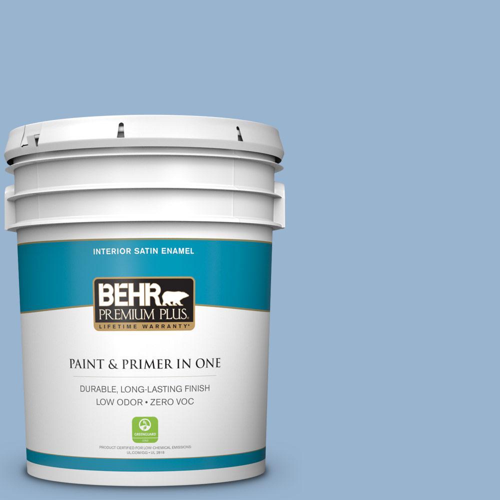 5 gal. #PPU14-10 Blue Suede Zero VOC Satin Enamel Interior Paint
