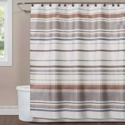 Colorware Stripe 72 in. Neutral Polyester Shower Curtain