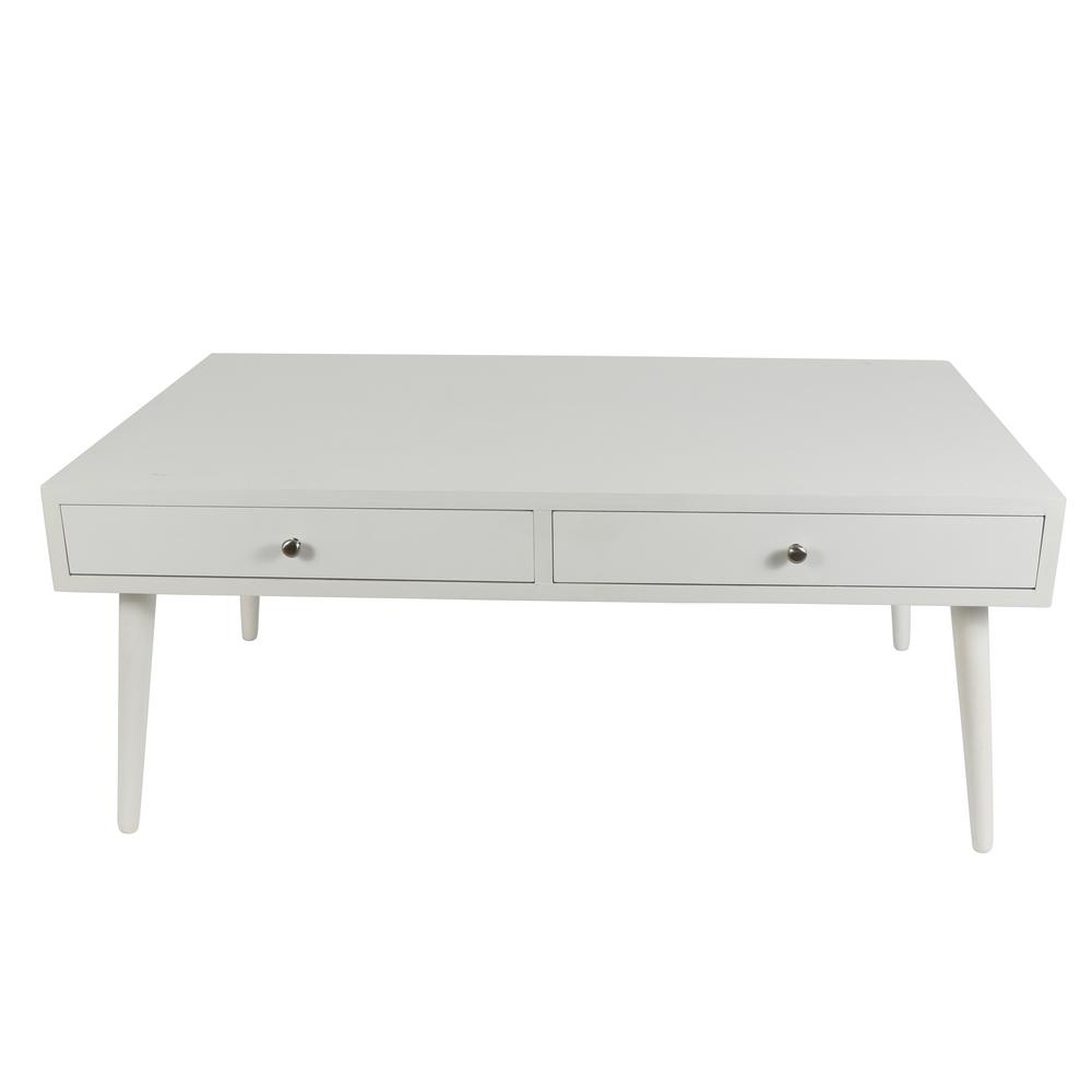 Decor Therapy Mid Century Modern White Coffee Table-FR8676