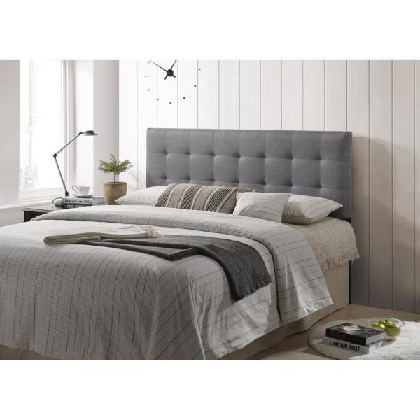 Poly and Bark Gray Guilia Square-Stitched Headboard, Queen ...
