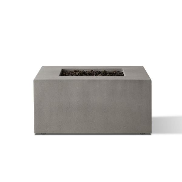 Matteau 40 in. Square Concrete Composite Natural Gas Fire Table in Flint with Vinyl Cover