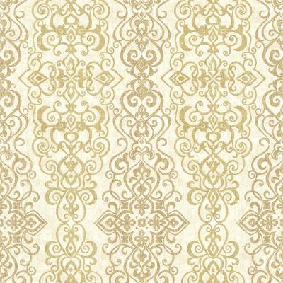 Mexuar Gold Filigree Stripe Wallpaper Sample