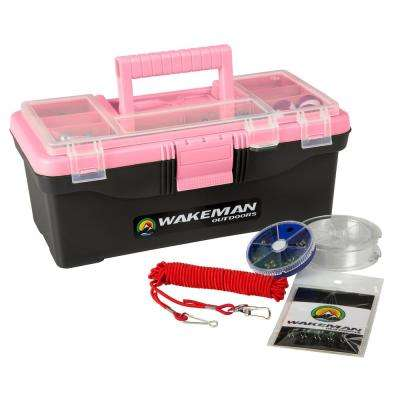 Pink Fishing Single Tray Tackle Box Kit (55-Pieces)