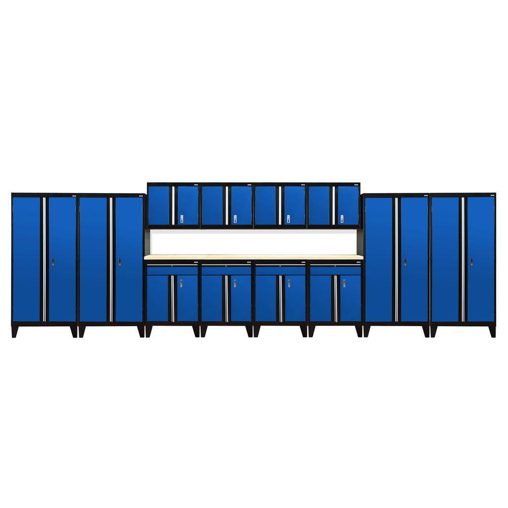 79 in. H x 264 in. W x 18 in. D Modular Garage Welded Steel Cabinet Set in Black/Blue (14-Piece)
