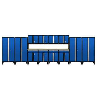 79 in. H x 264 in. W x 18 in. D Modular Garage Welded Steel Storage System in Black/Blue (14-Piece)