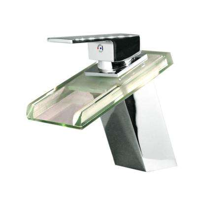Single Hole 1-Handle LED Vessel Glass Waterfall Bathroom Faucet in Chrome