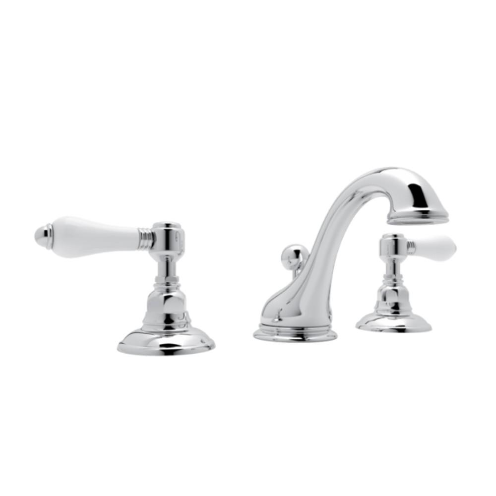 Rohl Viaggio 8 In Widespread 2 Handle Bathroom Faucet With Porcelain Handles Polished Chrome