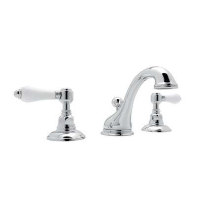 Viaggio 8 in. Widespread 2-Handle Bathroom Faucet with Porcelain Handles in Polished Chrome