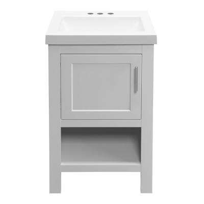 Spa 18-1/2 in. W Bath Vanity in Dove Gray with Cultured Marble Vanity Top in White with White Sink