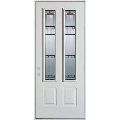 37.375 in. x 82.375 in. Architectural 2 Lite 2-Panel Painted White Right-Hand Inswing Steel Prehung Front Door