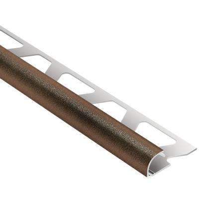 Rondec Bronze Textured Color-Coated Aluminum 3/8 in. x 8 ft. 2-1/2 in. Metal Bullnose Tile Edging Trim