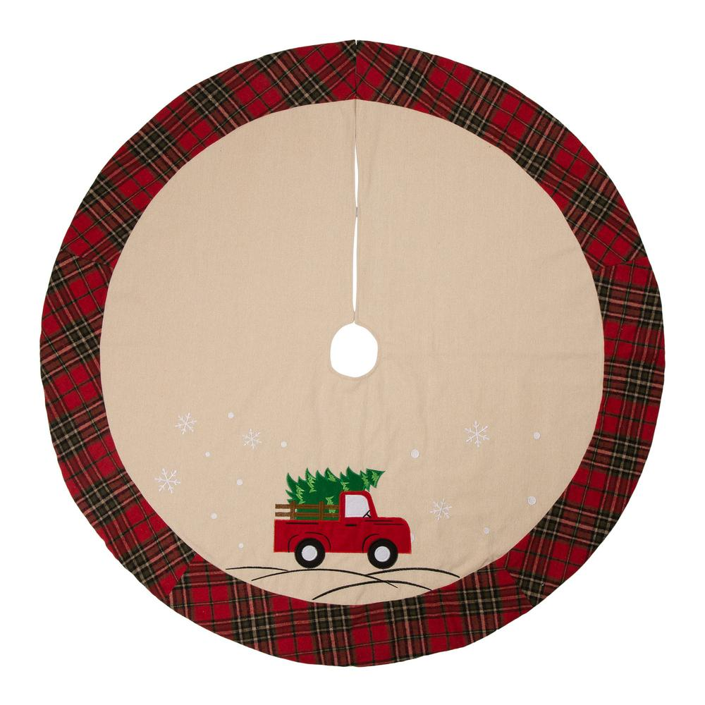 Christmas Skirt.Glitzhome 48 In D Fabric Christmas Tree Skirt Red Truck