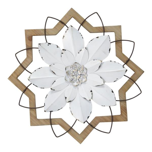 Stratton Home Decor White Metal Flower In Wood Frame S30861 The Home Depot