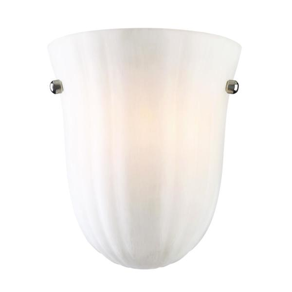 Baronne 1-Light Satin Nickel Sconce with Frosted Glass