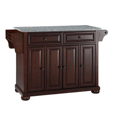 Alexandria Mahogany Kitchen Island with Granite Top