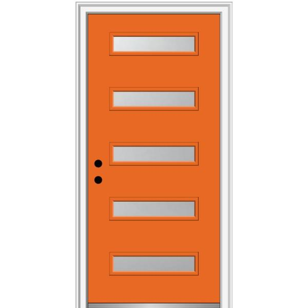 32 in. x 80 in. Davina Right-Hand Inswing 5-Lite Frosted Glass Painted Steel Prehung Front Door on 6-9/16 in. Frame