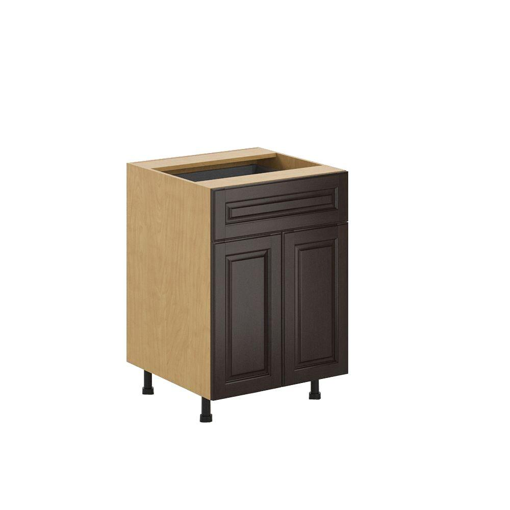 Eurostyle Ready to Assemble 24x34.5x24.5 in. Naples Base Cabinet in Maple Melamine and Door in Dark Brown