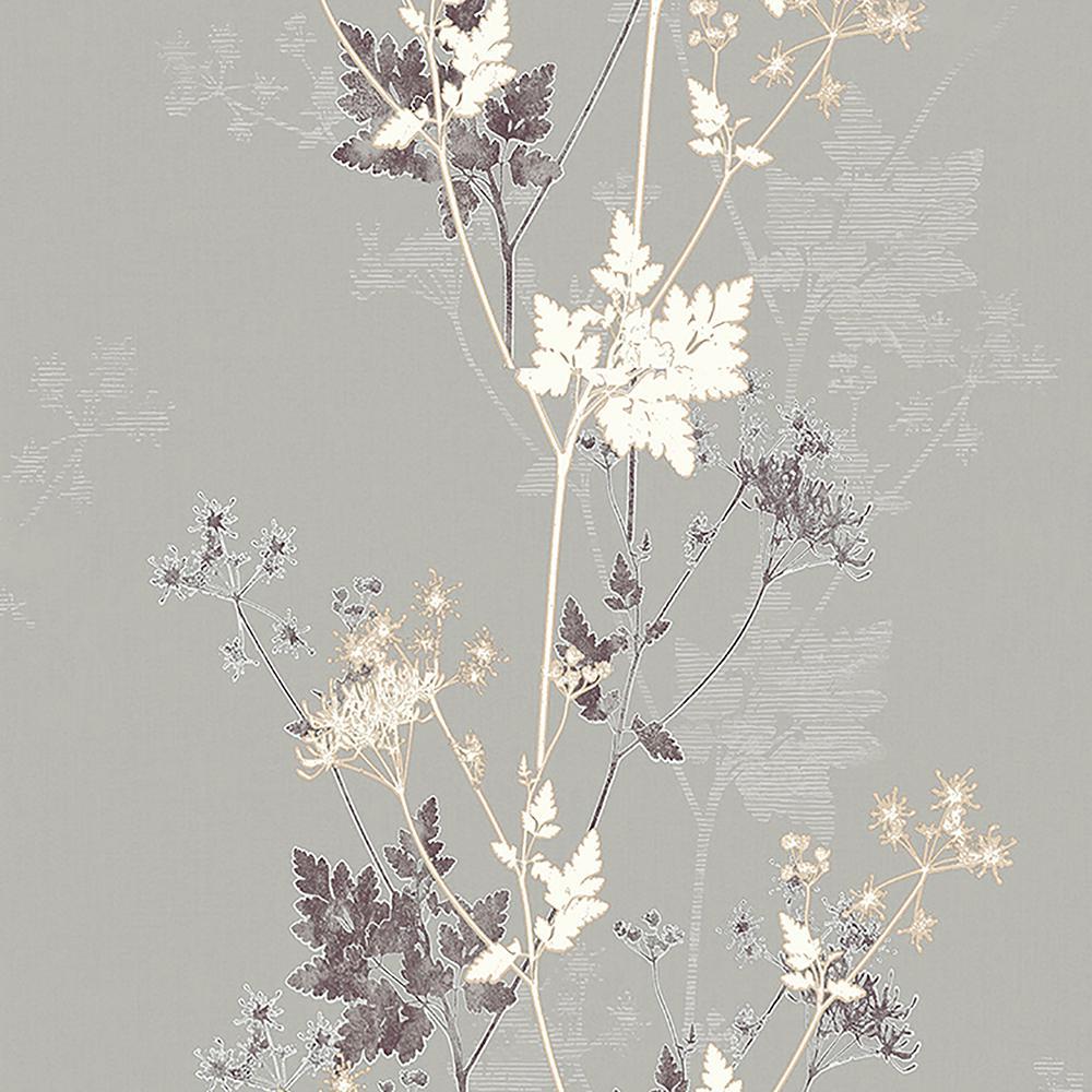 8 in. x 10 in. Tara Bronze Sprig Wallpaper Sample