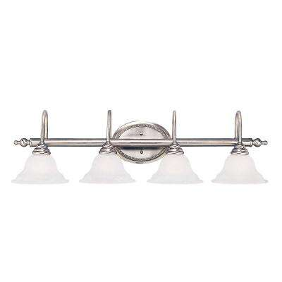 4-Light Pewter Bath Bar Light with White Faux Alabaster Glass