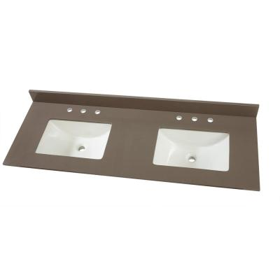 61 in. W x 22 in. D Engineered Marble Vanity Top in Slate Grey with White Double Trough Sinks
