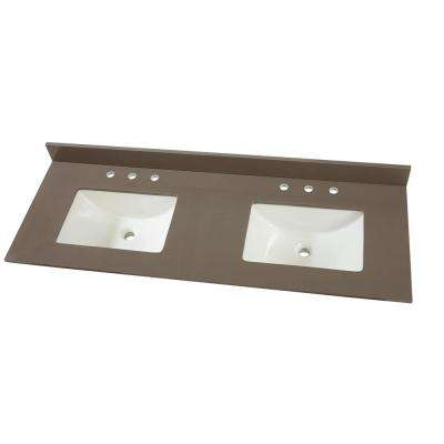 61 in. W x 22 in. D Engineered Marble Vanity Top in Slate Grey with White Double Trough Basins