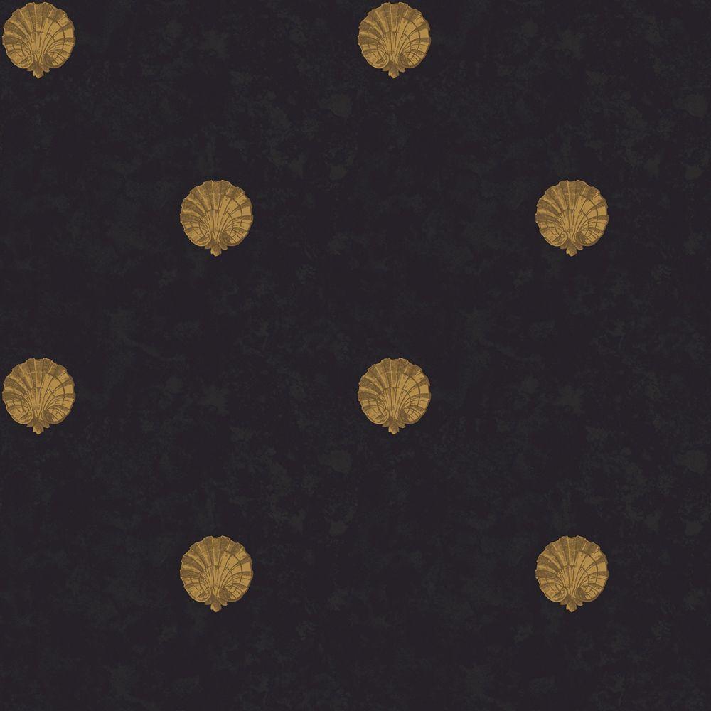 The Wallpaper Company 56 sq. ft. Black and Gold Medallion Shells Wallpaper