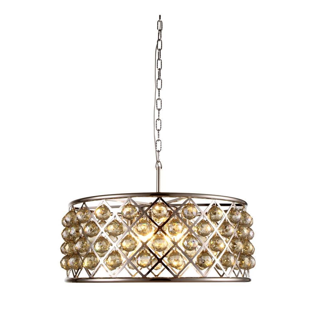madison 6light polished nickel royal cut golden teak smoky pendant