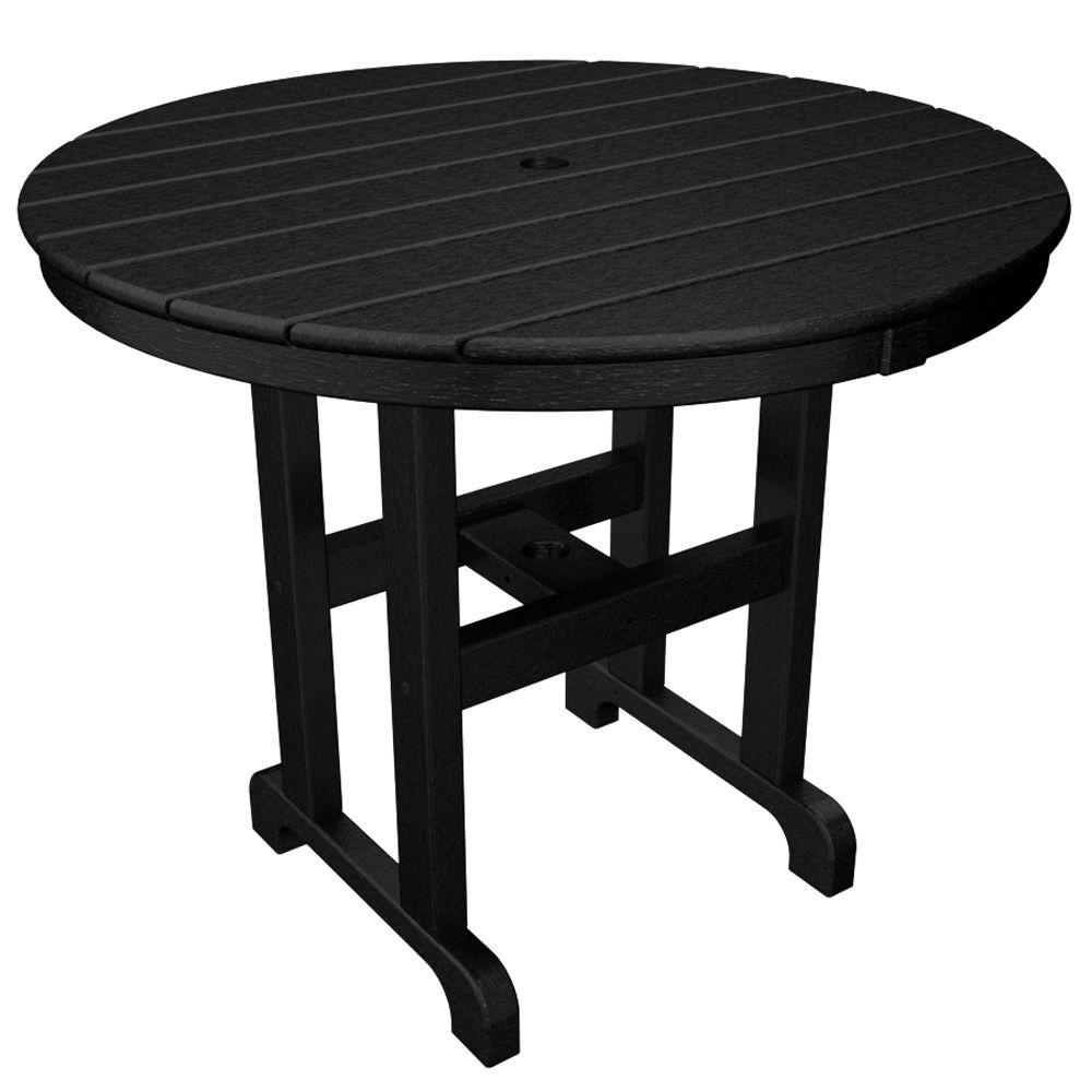 Trex Outdoor Furniture Monterey Bay 36 in. Charcoal Black Round Patio Dining Table