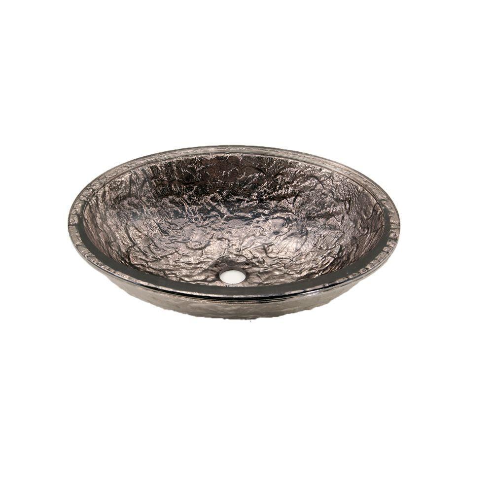 JSG Oceana Undermount Bathroom Sink in Platinum with Overflow