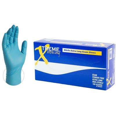 Extra Long Blue Nitrile Industrial Powder-Free Disposable Gloves (100-Count) - Large