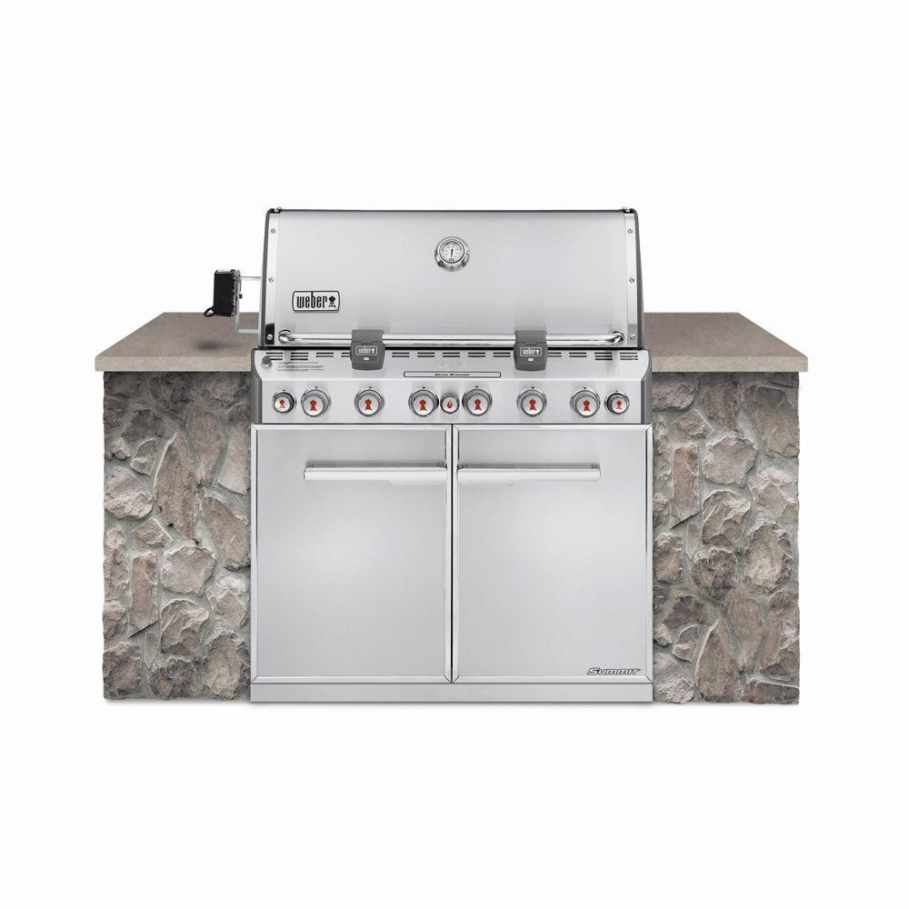 Weber Summit S-660 6-Burner Built-In Propane Gas Grill in Stainless Steel with Grill Cover and Built-In Thermometer