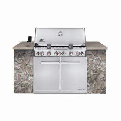 Summit S-660 6-Burner Built-In Propane Gas Grill in Stainless Steel with Grill Cover and Built-In Thermometer