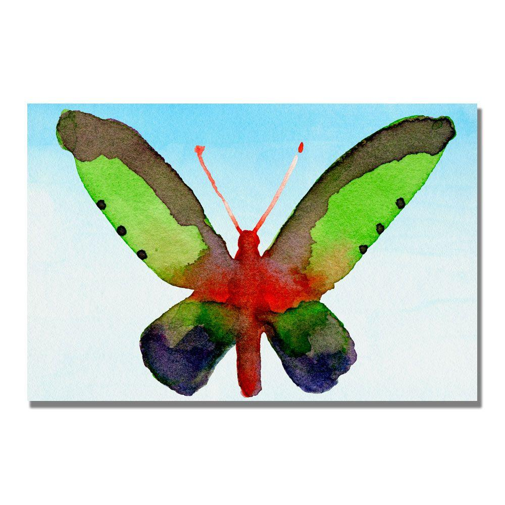 Trademark Fine Art 22 in. x 32 in. Fantasy Butterfly Green and Purple Canvas Art-DISCONTINUED