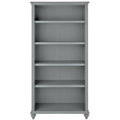 72 in. Distressed Gray Wood 5-shelf Accent Bookcase with Adjustable Shelves